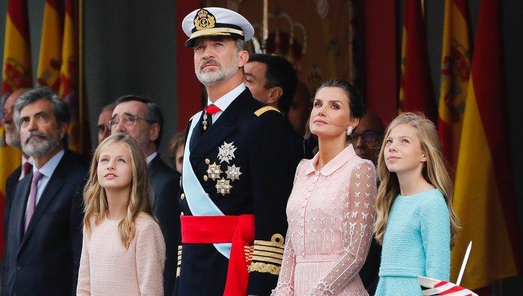 Los Reyes Felipe y Letizia, la Princesa Leonor y la Infanta Sofía en el Día de la Hispanidad 2019