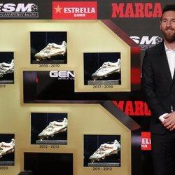 Leo Messi con sus seis botas en la entrega de la Bota de Oro 2019