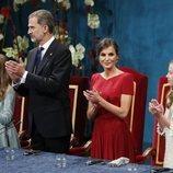 Los Reyes Felipe y Letizia, la Princesa Leonor y la Infanta Sofía durante la ceremonia de los Premios Princesa de Asturias 2019