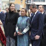 Cristina de Borbón-Dos Sicilias y Pedro López Quesada con su hija Victoria en los Premios Princesa de Asturias 2019