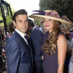 David Ferrer y su mujer, Marta Tornel, en la boda de Rafa Nadal y Xisca Perelló