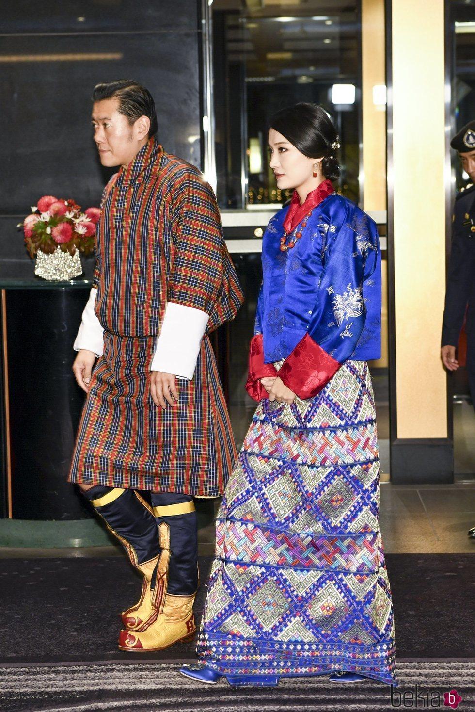Los Reyes de Bhutan en el banquete organizado por la entronización de Naruhito de Japón