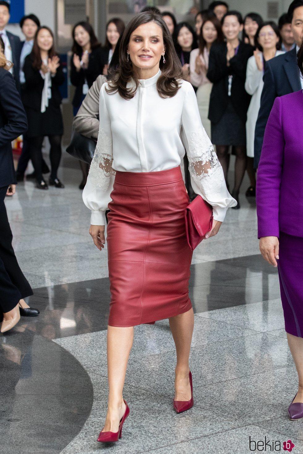 La Reina Letizia en un acto de la Agencia de Promoción de Inversión Comercial de la República de Corea