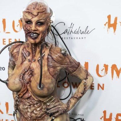 Heidi Klum en el photocall de su fiesta de disfraces de Halloween 2019