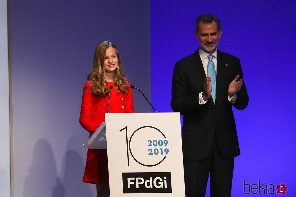 La Princesa Leonor tras pronunciar su primer discurso en los Premios Princesa de Girona 2019