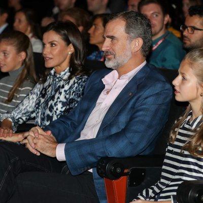 Los Reyes Felipe y Letizia, la Princesa Leonor y la Infanta Sofía en la jornada 'El talento atrae al talento' de la Fundación Princesa de Girona