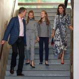 Los Reyes Felipe y Letizia, la Princesa Leonor y la Infanta Sofía, muy cómplices en los actos de la Fundación Princesa de Girona