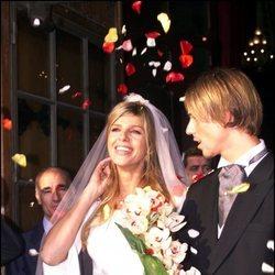 Arancha de Benito y Guti en su boda en 1999