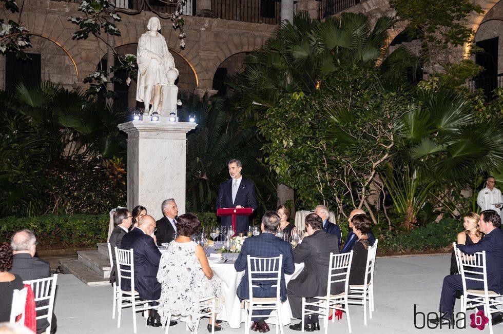 El Rey Felipe dando un discurso en la cena en honor al Presidente de Cuba en su Visita de Estado a Cuba