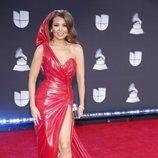 Thalia en la alfombra roja de los premios Grammy Latino 2019