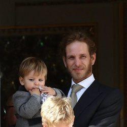 Andrea Casiraghi y sus hijos Sasha y Max en el Día Nacional de Mónaco 2019