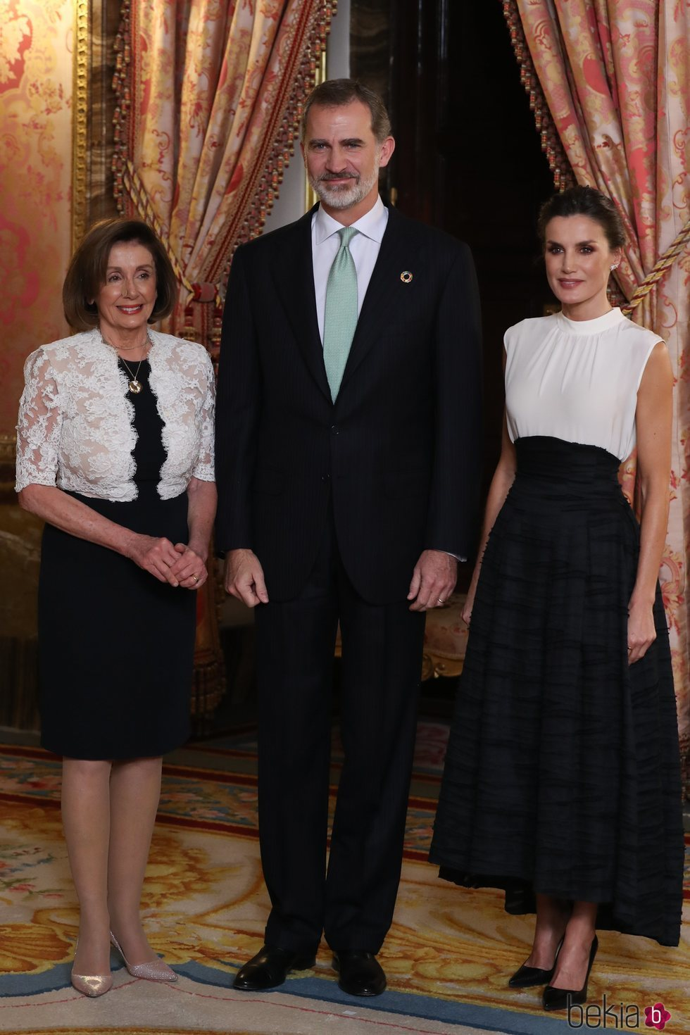 Los Reyes Felipe y Letizia con Nancy Pelosi en la recepción por la Conferencia sobre el Cambio Climático