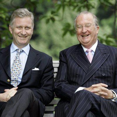 Alberto II de Bélgica con su hijo, Felipe de Bélgica