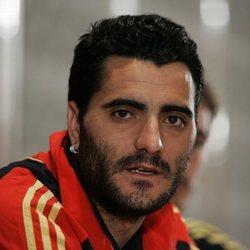 Dani Güiza durante una rueda de prensa de la Selección Española