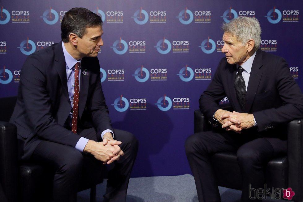 Harrinson Ford y Pedro Sánchez en la Cumbre del Clima de Madrid 2019