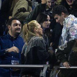 Belén Esteban, Miguel Marcos, Palomo Spain y María Escoté en el concierto de Rosalía en Madrid