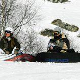 Elena Tablada y Daniel Arigita esquiando en Baqueira Beret