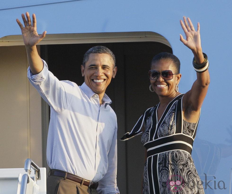Barack Obama y Michelle Obama rumbo a Washington