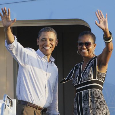 Barack Obama y Michelle Obama rumbo a Washington