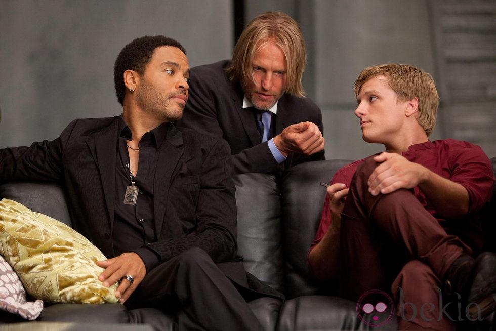 Lenny Kravitz Woody Harrelson Y Josh Hutcherson En Los Juegos Del