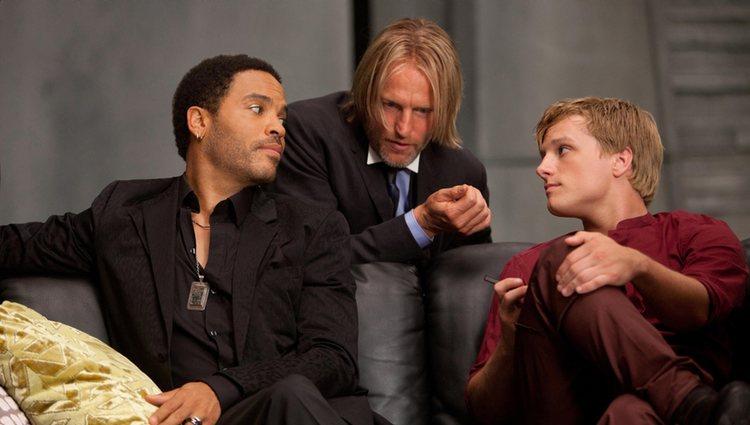 Lenny Kravitz, Woody Harrelson y Josh Hutcherson en 'Los juegos del hambre'
