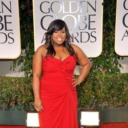 Amber Riley en la alfombra roja de los Globos de Oro 2012