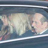 El Duque de Kent y sus nietas Marina y Amelia Windsor en el almuerzo prenavideño 2019 en Buckingham Palace