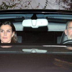Los Reyes Felipe y Letizia a la salida de la capilla ardiente de la Infanta Pilar