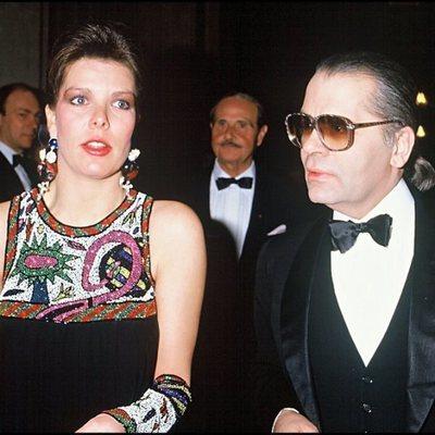 Carolina de Mónaco y Karl Lagerfeld en los años 80