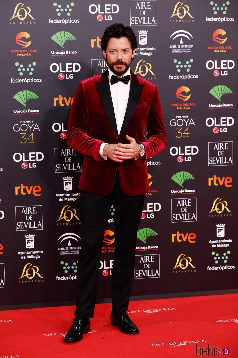 Álvaro Morte en la alfombra roja de los Goya 2020