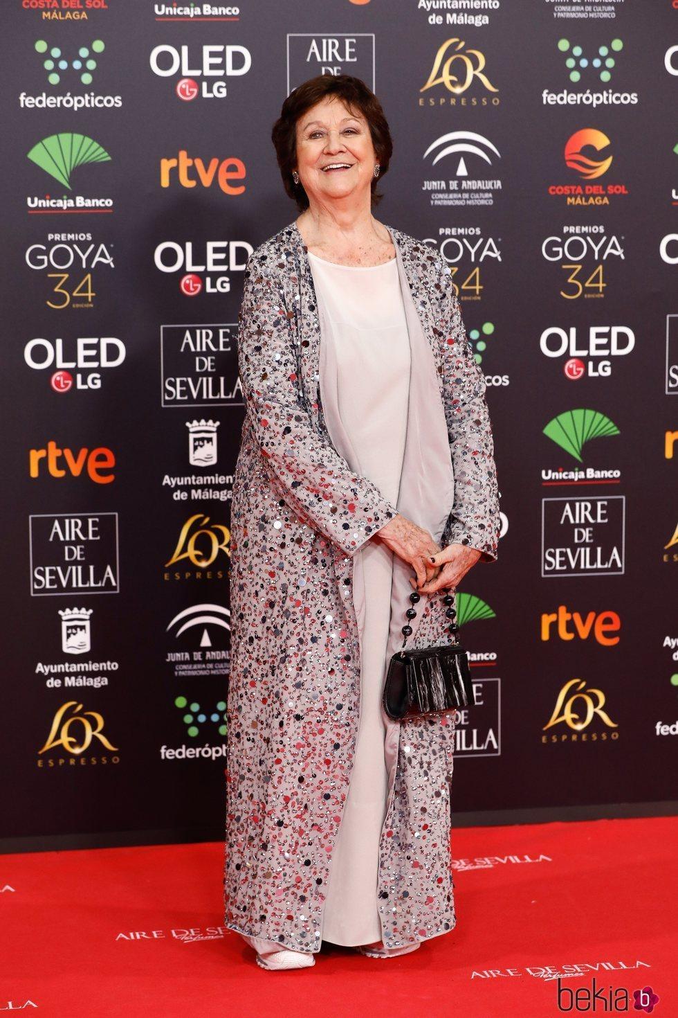 Julieta Serrano en la alfombra roja de los Goya 2020