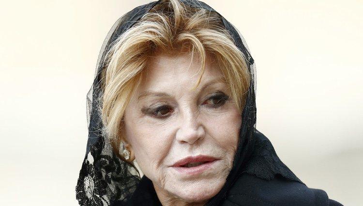 La Baronesa Thyssen en el funeral de la Infanta Pilar en El Escorial