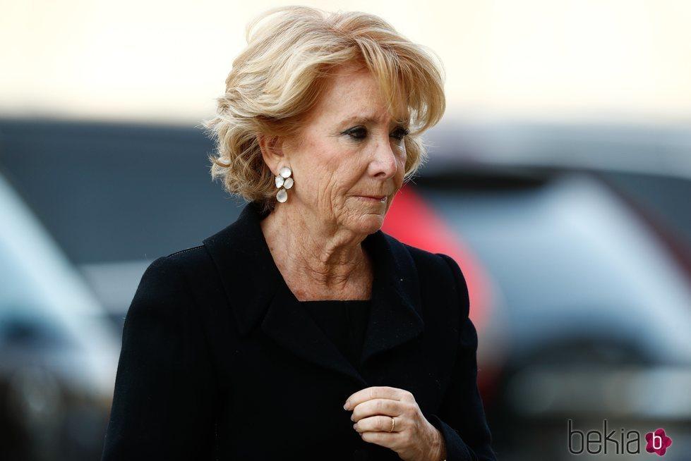 Esperanza Aguirre en el funeral de la Infanta Pilar en El Escorial