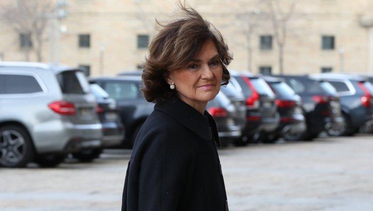 Carmen Calvo en el funeral de la Infanta Pilar en El Escorial