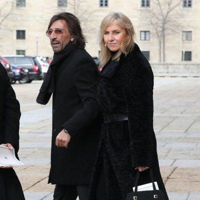 Antonio Carmona y Mariola Orellana en el funeral de la Infanta Pilar en El Escorial