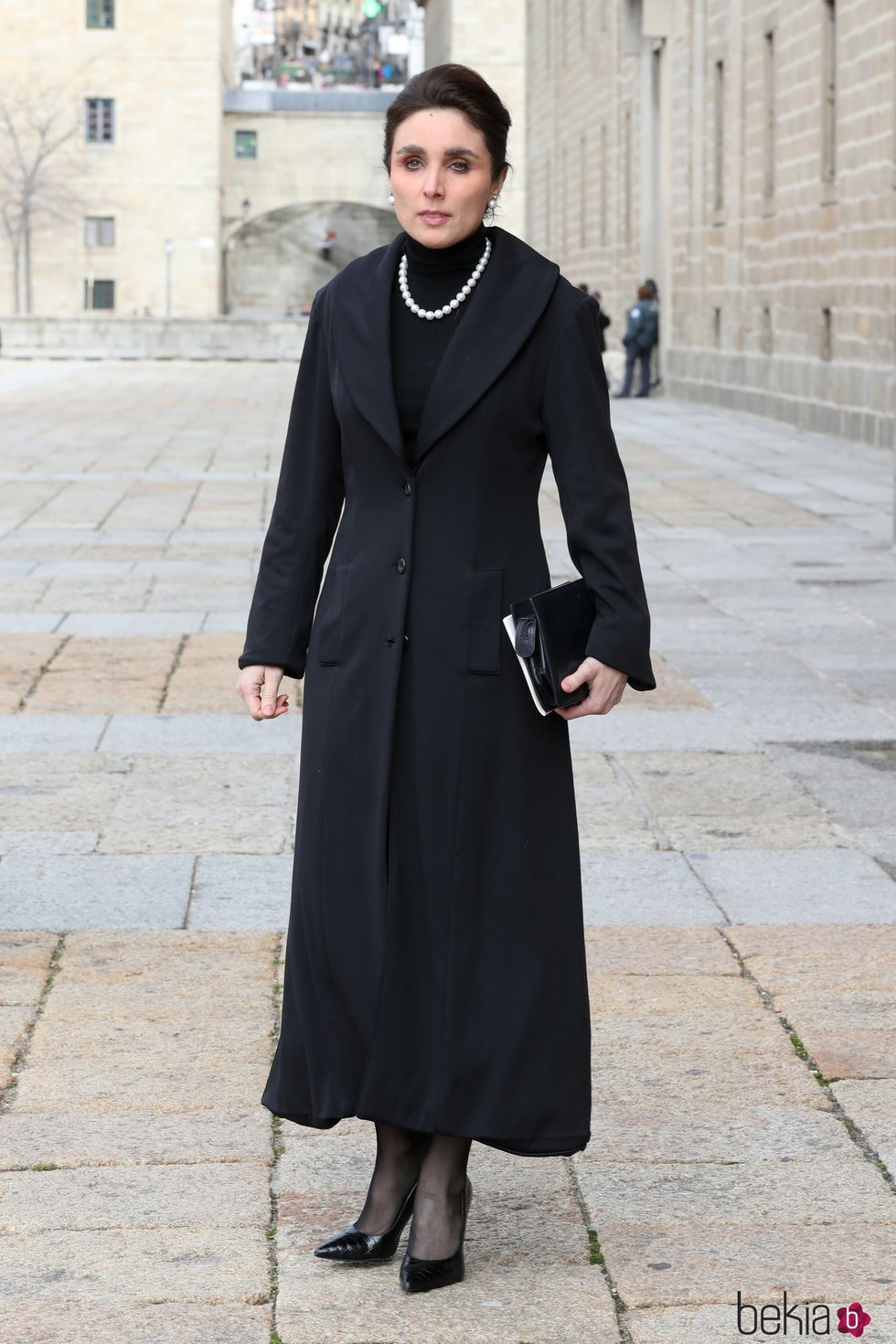 Paloma Segrelles en el funeral de la Infanta Pilar en El Escorial