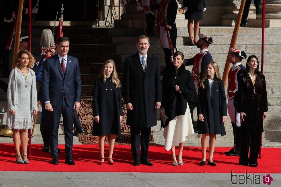 Los Reyes Felipe y Letizia, la Princesa Leonor, la Infanta Sofía, Pedro Sánchez, Meritxell Batet y Pilar Llop en la Apertura de la XIV Legislatura