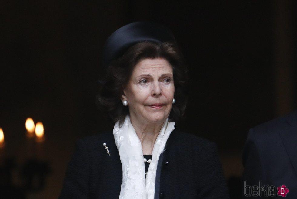 La Reina Silvia de Suecia en el funeral de Dagmar von Arbin