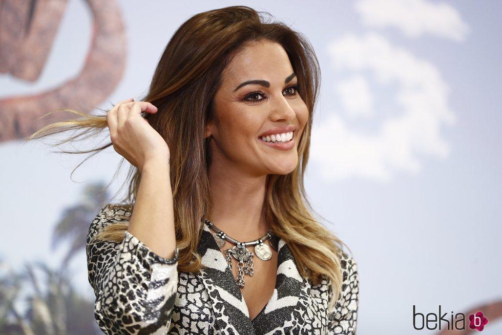 Lara Álvarez, muy feliz en la presentación de 'Supervivientes 2020'