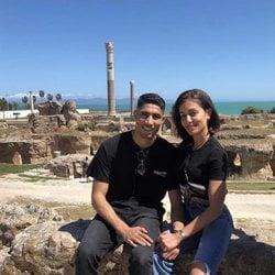 Hiba Abouk y Achraf Hakimi en Túnez
