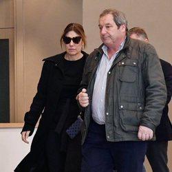 Raquel Revuelta en el funeral de su exmarido Miguel Ángel Jiménez