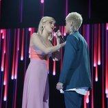 Samantha y Hugo durante su actuación en la Gala 5 de 'OT 2020'