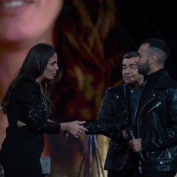 Jorge Javier Vázquez presenciando el reencuentro de Anabel Pantoja con Omar Sánchez en la final de 'El tiempo del descuento'