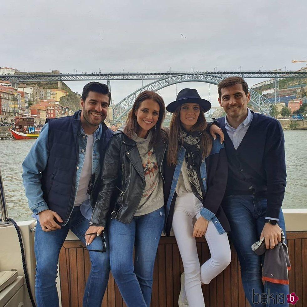 Miguel Torres, Paula Echevarría, Sara Carbonero e Iker Casillas en Oporto