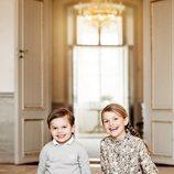 La Princesa Estela de Suecia  con su hermano el Príncipe Oscar en su posado por su octavo cumpleaños