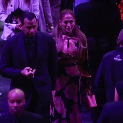 Jennifer Lopez y Alex Rodriguez en el funeral de Kobe Bryant en el Staples Center de Los Ángeles