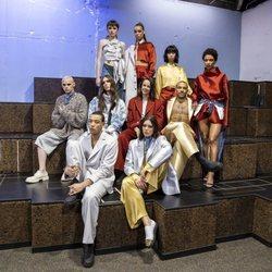 Pauline Ducruet con sus modelos en la presentación de la colección de Alter Designs en la Paris Fashion Week