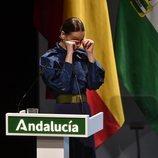 Eva González, emocionada en la entrega de las Medallas de Andalucía 2020