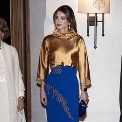 Rania de Jordania en la cena de gala por la Visita de Estado de los Reyes Harald y Sonia de Noruega a Jordania