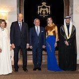 Harald y Sonia de Noruega, Abdalá y Rania de Jordania y Hussein de Jordania en la cena de gala por la Visita de Estado de los Reyes de Noruega a Jordania